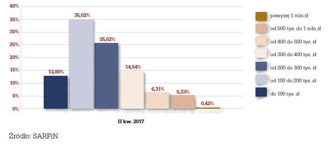 Struktura nowo udzielonych kredytów według wysokości kredytu w II kw. 2017 r.