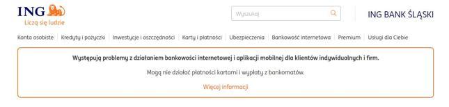 Komunikat widoczny w trakcie awarii na stronie www.ing.pl