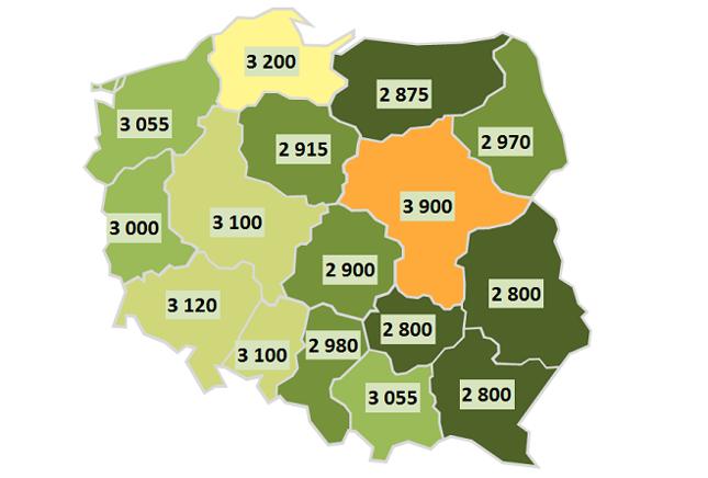 Mapa 1. Wynagrodzenia całkowite w sektorze publicznym w 2015 roku w poszczególnych województwach (brutto w PLN)