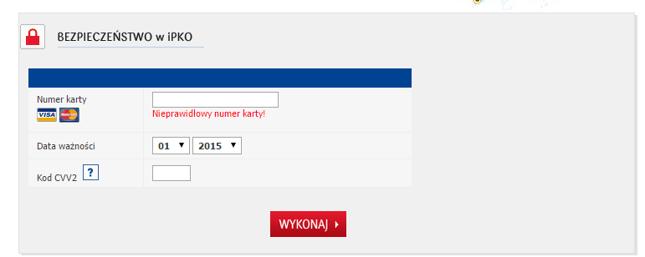 Formularz na sfałszowanej stronie banku