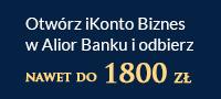 Otwórz iKonto Biznes w Alior Banku, spełnij warunki promocji i zgarnij 300 zł od Bankier.pl i do 1500 zł od Alior Banku.