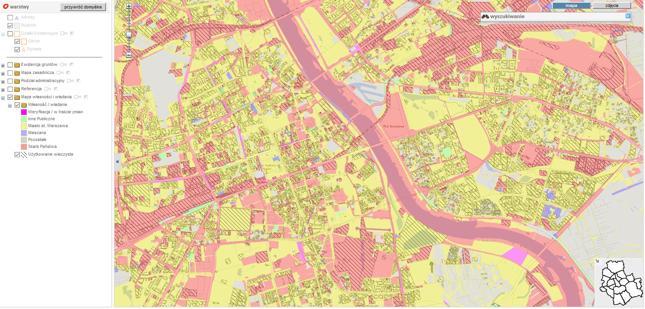 Mapa własności gruntów w Warszawie