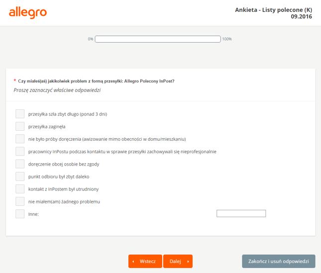 Ankieta serwisu Allegro dot. Allegro Polecony InPost