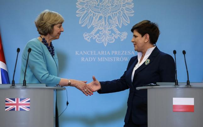 Premier Wielkiej Brytanii Theresa May i premier Beata Szydło