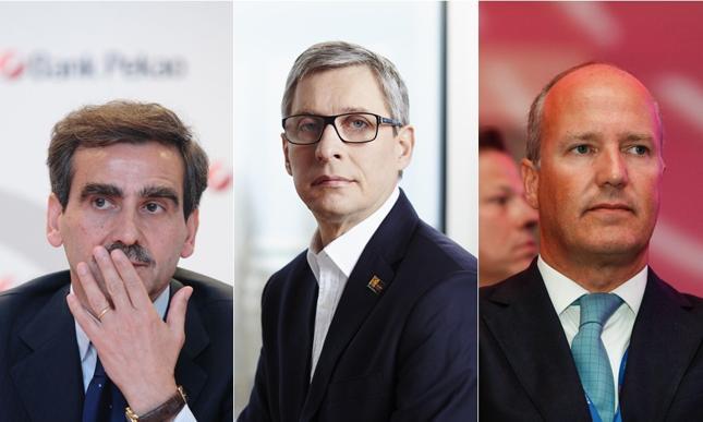 Luigi Lovaglio, były prezes Banku Pekao, Wojciech Sobieraj, były prezes Alior Banku i Joao Bras Jorge, obecny prezes Banku Millennium