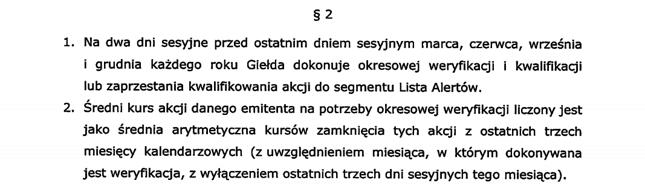 Zasady dodawania na listę alertów zapisane w uchwale GPW