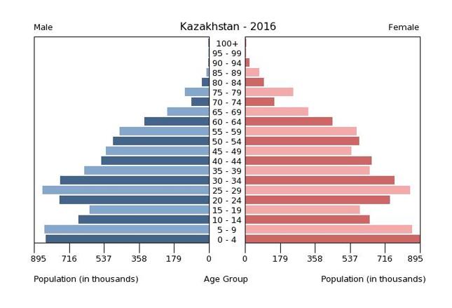 Struktura wieku ludności Kazachstanu w 2016 roku, w podziale na płeć. Za: www.cia.gov/library/publications/the-world-factbook/geos/kz.html